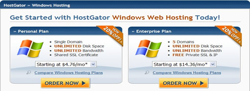 HostGator主机推出windows方案