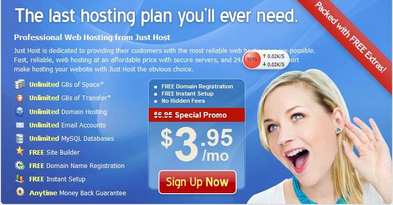 JustHost虚拟主机$3.95再掀抢购风暴
