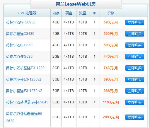 LeaseWeb机房服务器